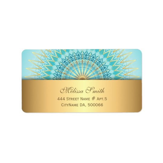 Etiqueta Mandala de Boho del oro de la turquesa