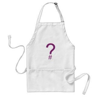 Etiqueta/marca índice púrpuras de la pregunta delantal
