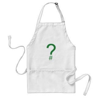 Etiqueta/marca índice verdes de la pregunta delantal