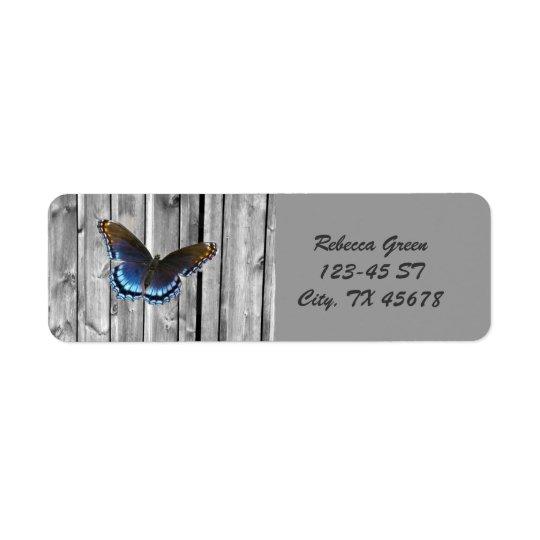 Etiqueta Mariposa de madera resistida apenada del azul del