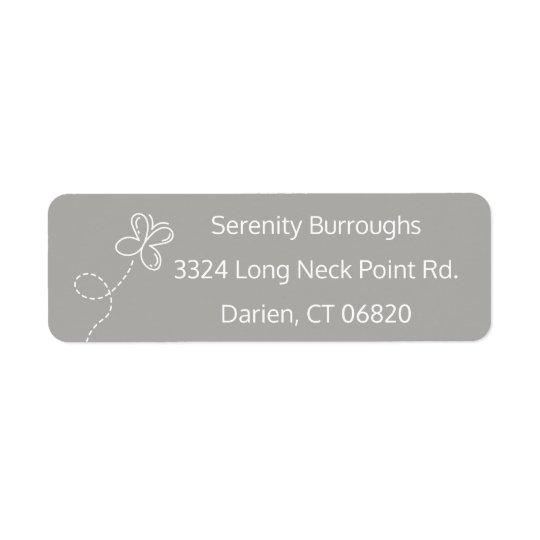 Etiqueta Mariposa gris y blanca personalizada