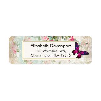 Etiqueta Mariposa rosada y rosas lamentables del vintage