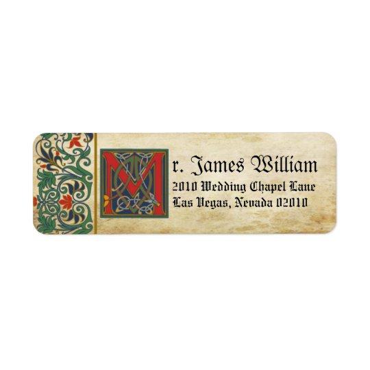 Etiqueta medieval del boda del manuscrito etiqueta de remitente