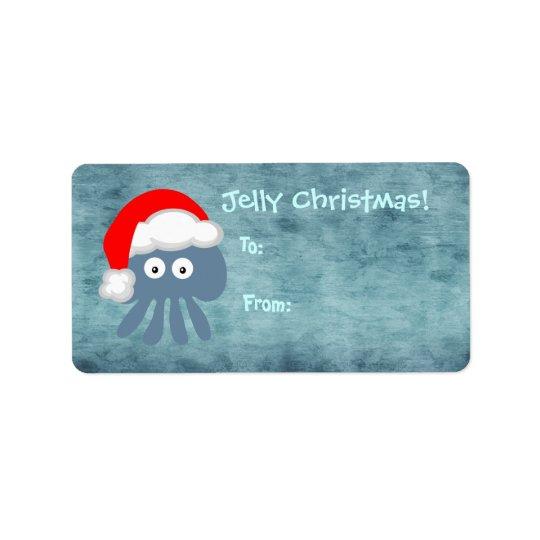 Etiqueta Medusas azules lindas Santa del navidad de la