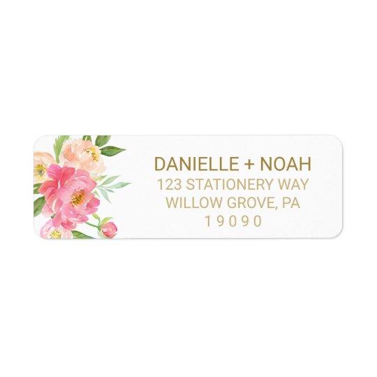 Etiqueta Melocotón y el casarse rosado de las flores del