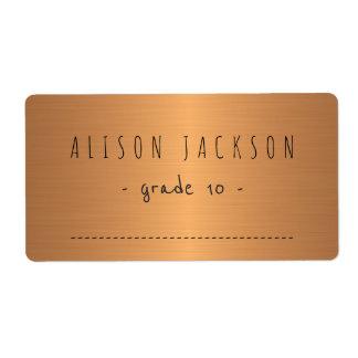 Etiqueta metálica de los cuadernos del cobre de la etiquetas de envío