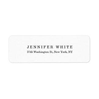 Etiqueta Minimalist blanco negro clásico elegante llano