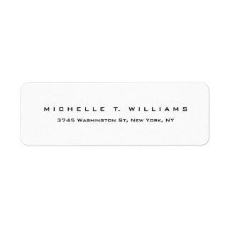 Etiqueta Minimalist blanco negro moderno elegante llano