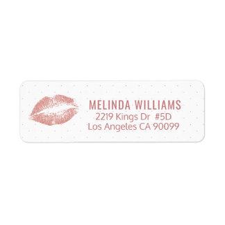 Etiqueta modelo de los labios y de puntos del purpurina del