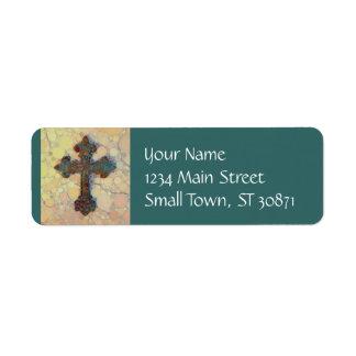 Etiqueta Modelo de mosaico cruzado cristiano fresco del