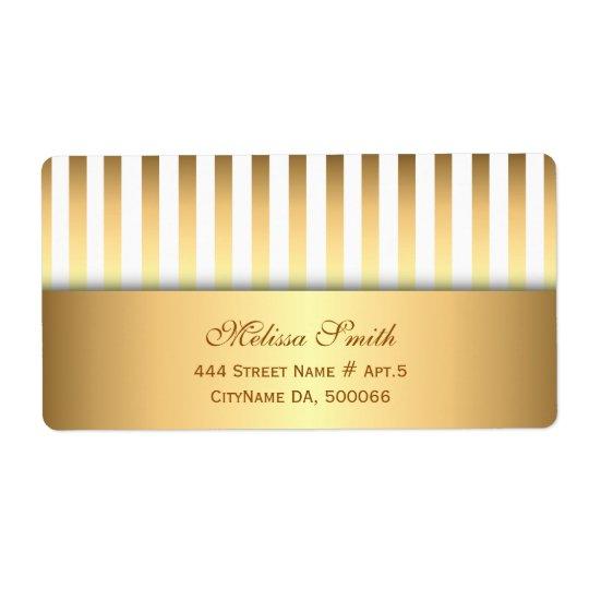 Etiqueta Modelo elegante de las rayas del blanco y del oro