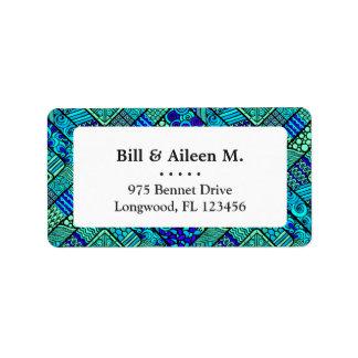 Etiqueta Modelo tribal abstracto azulverde de Boho
