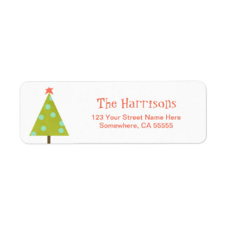 Etiqueta moderna del remite del árbol de navidad etiqueta de remitente