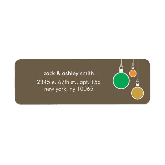 Etiqueta moderna del remite del navidad - Brown