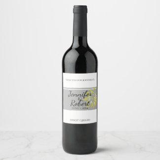 Etiqueta moderna del vino de la flor de la plata y
