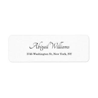 Etiqueta Moderno profesional minimalista blanco elegante