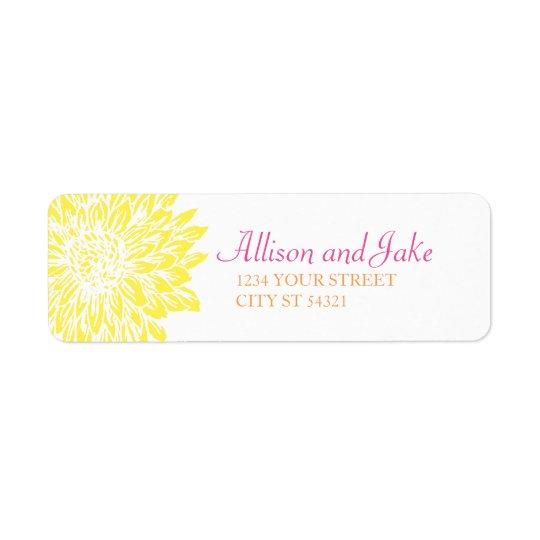 Etiqueta Momias del rosa, anaranjadas y amarillas que casan