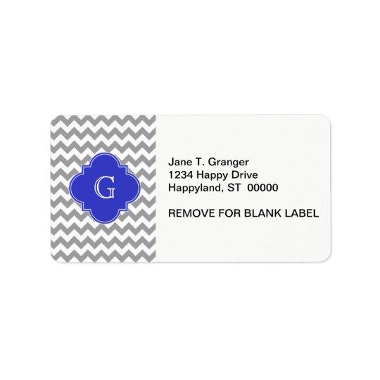 Etiqueta Monograma de Quatrefoil del azul de cobalto de