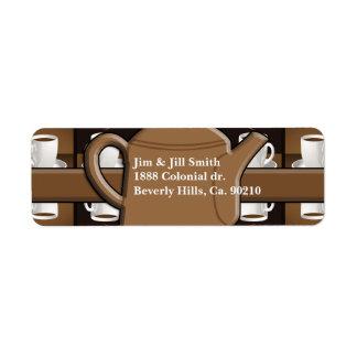 Etiqueta Monograma del mosaico del café del café del café
