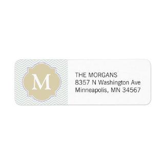Etiqueta Monograma moderno gris y beige del personalizado