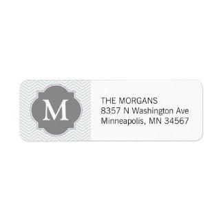 Etiqueta Monograma moderno gris y gris del personalizado de
