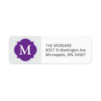 Etiqueta Monograma moderno gris y púrpura del personalizado