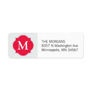 Etiqueta Monograma moderno gris y rojo del personalizado de