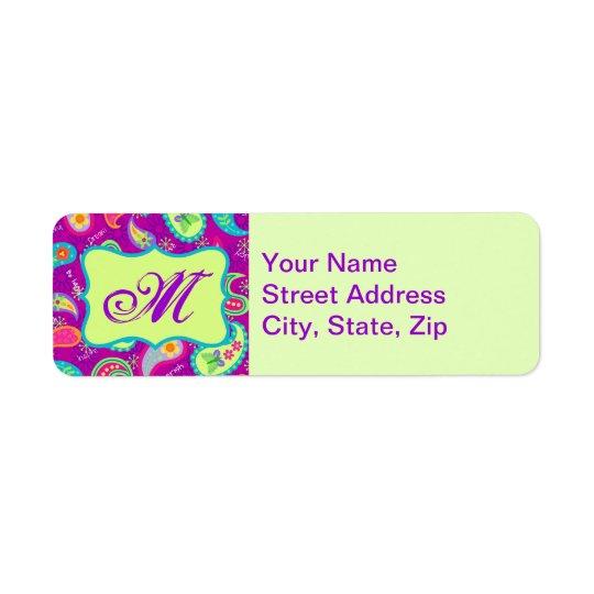 Etiqueta Monograma moderno verde púrpura magenta de Paisley