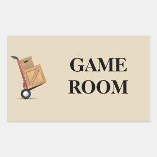 Etiqueta móvil de la caja - sitio de juego