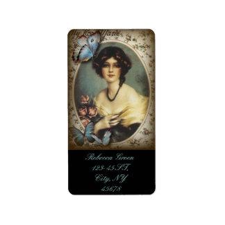 Etiqueta mujer retra floral de París del victorian del