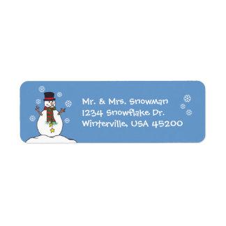 Etiqueta Muñeco de nieve y copos de nieve felices -