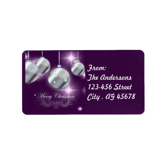 Etiqueta Navidad de la púrpura del ornamento del día de