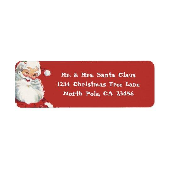 Etiqueta Navidad del vintage, guiño alegre de Papá Noel