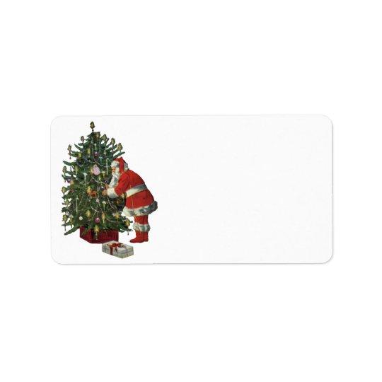 Etiqueta Navidad del vintage, Papá Noel con los presentes