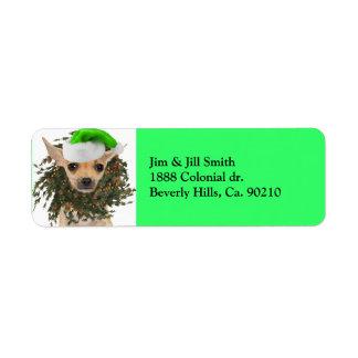 Etiqueta Navidad guirnalda y gorra de la chihuahua