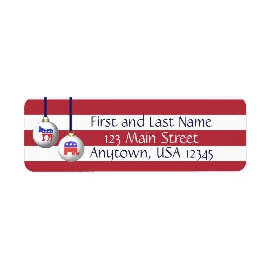 Etiqueta Navidad patriótico blanco y azul rojo de dos