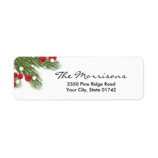 Etiqueta Navidad pino y remite blanco de encargo de la baya