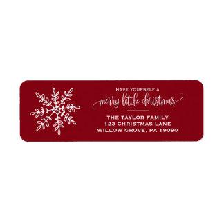 Etiqueta Navidad rojo grande del copo de nieve