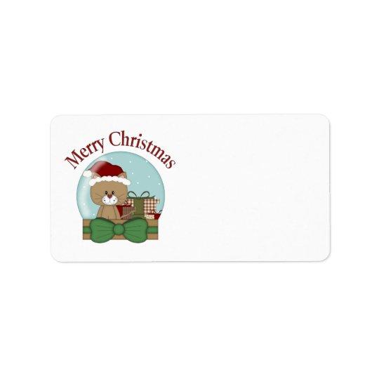 Etiqueta Navidad Snowglobes del día de fiesta del gatito
