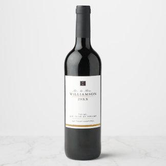 Etiqueta negra lisa elegante del vino del