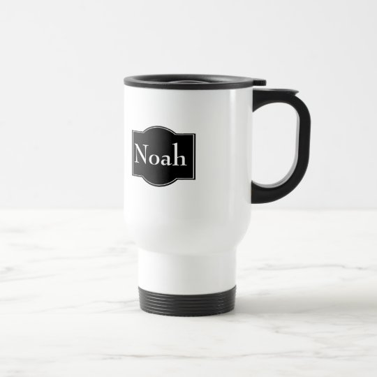 Etiqueta negra personalizada taza de viaje