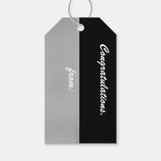 Etiqueta negra y de plata del regalo de la etiquetas para regalos