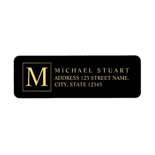 Etiqueta Negro y monograma elegante del oro