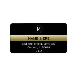Etiqueta Negro y monograma inicial conocido de encargo del