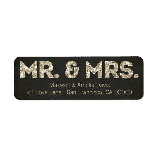 Etiqueta Negro y Sr. y señora Labels de la mirada del