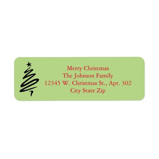 Etiqueta Nombre de encargo verde rojo del feliz árbol de