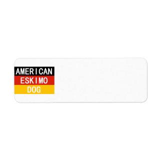 Etiqueta nombre esquimal americano en bandera