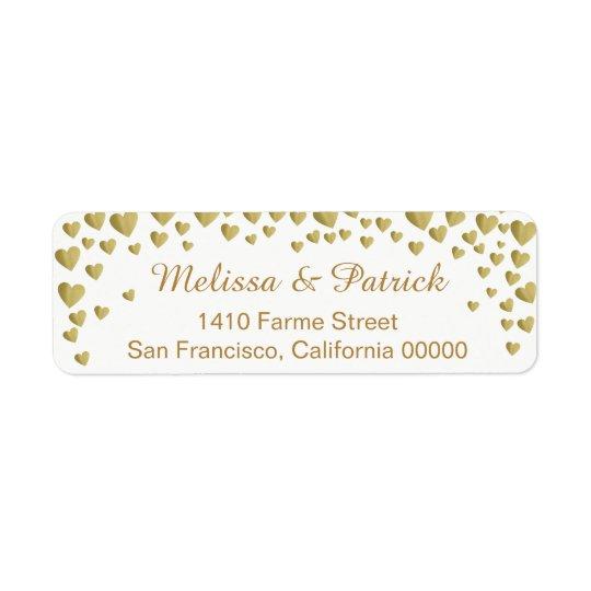 Etiqueta nombres con confeti de los corazones del amor en