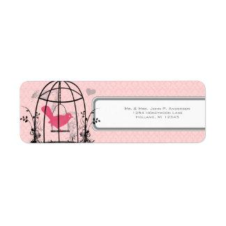 Etiqueta Notas musicales y corazón de la jaula de pájaros