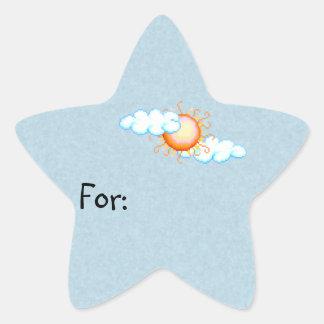 Etiqueta nublada del regalo de Sun
